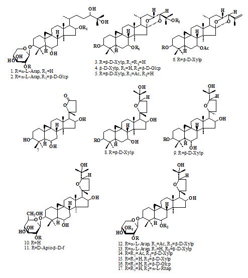 Структурные формулы исследуемых соединений
